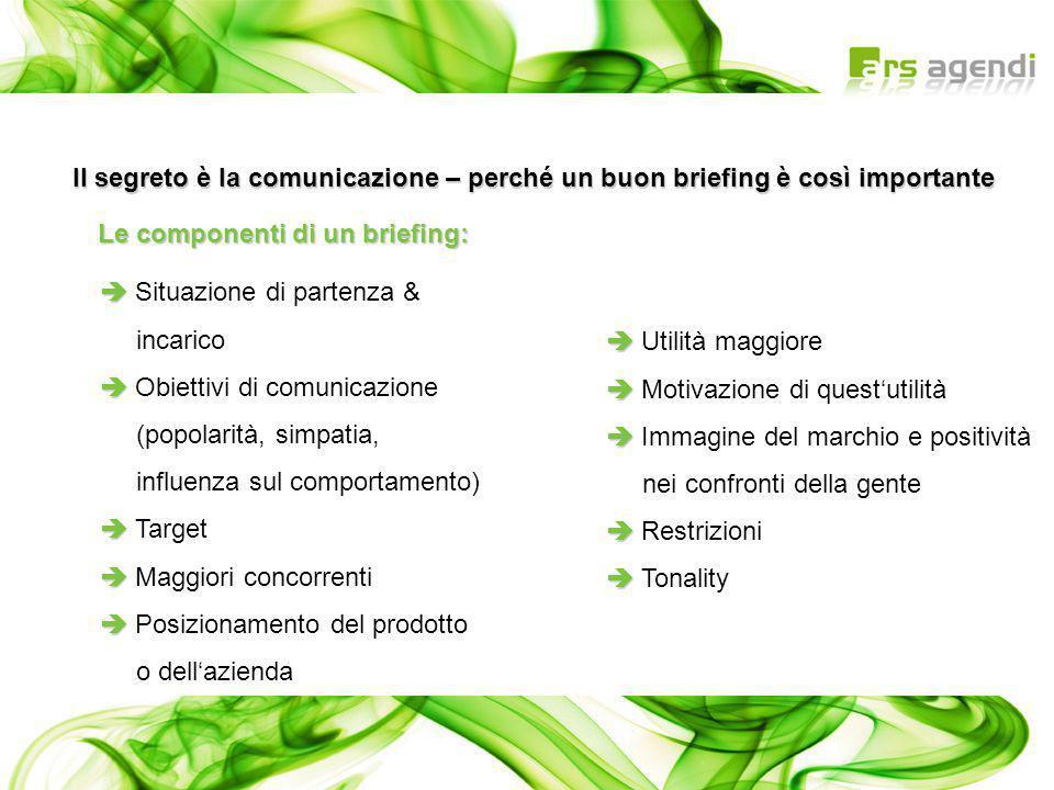   Situazione di partenza & incarico   Obiettivi di comunicazione (popolarità, simpatia, influenza sul comportamento)   Target   Maggiori conco