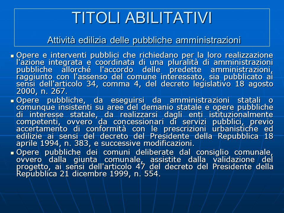 TITOLI ABILITATIVI Attività edilizia delle pubbliche amministrazioni Opere e interventi pubblici che richiedano per la loro realizzazione l'azione int
