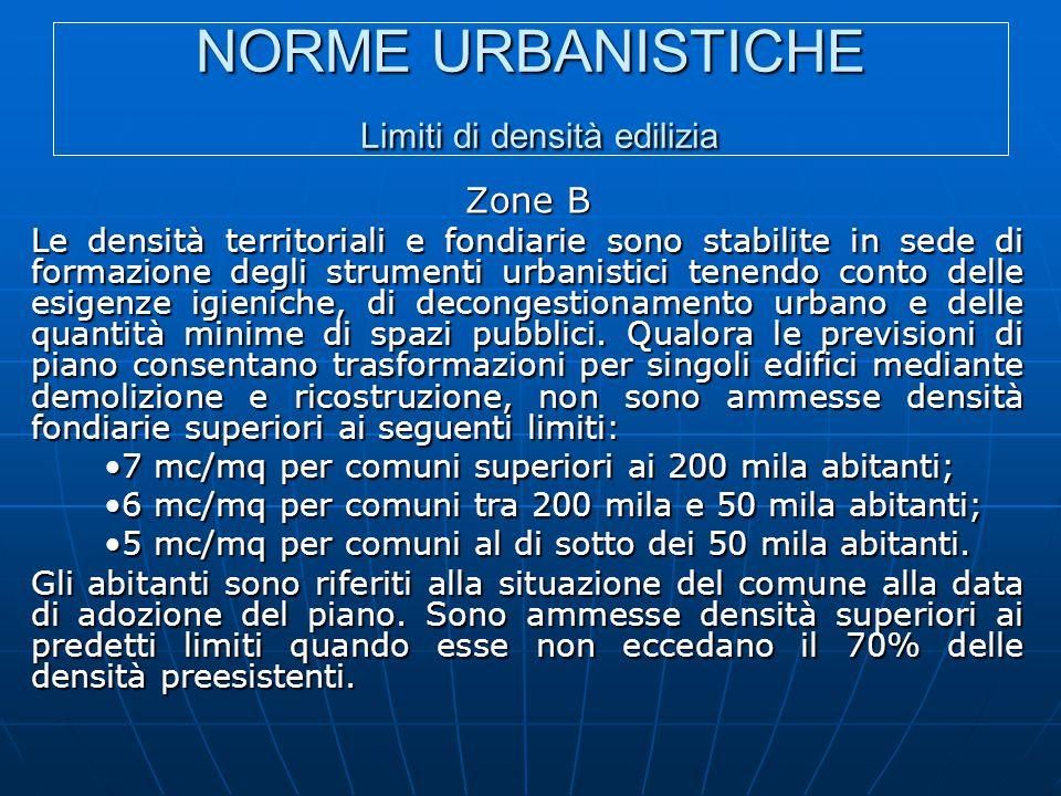 NORME URBANISTICHE Limiti di densità edilizia Zone B Le densità territoriali e fondiarie sono stabilite in sede di formazione degli strumenti urbanist