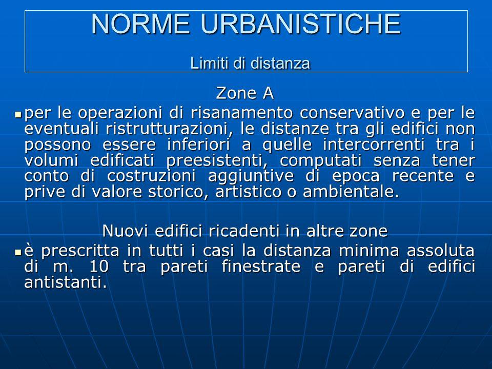 NORME URBANISTICHE Limiti di distanza Zone A per le operazioni di risanamento conservativo e per le eventuali ristrutturazioni, le distanze tra gli ed