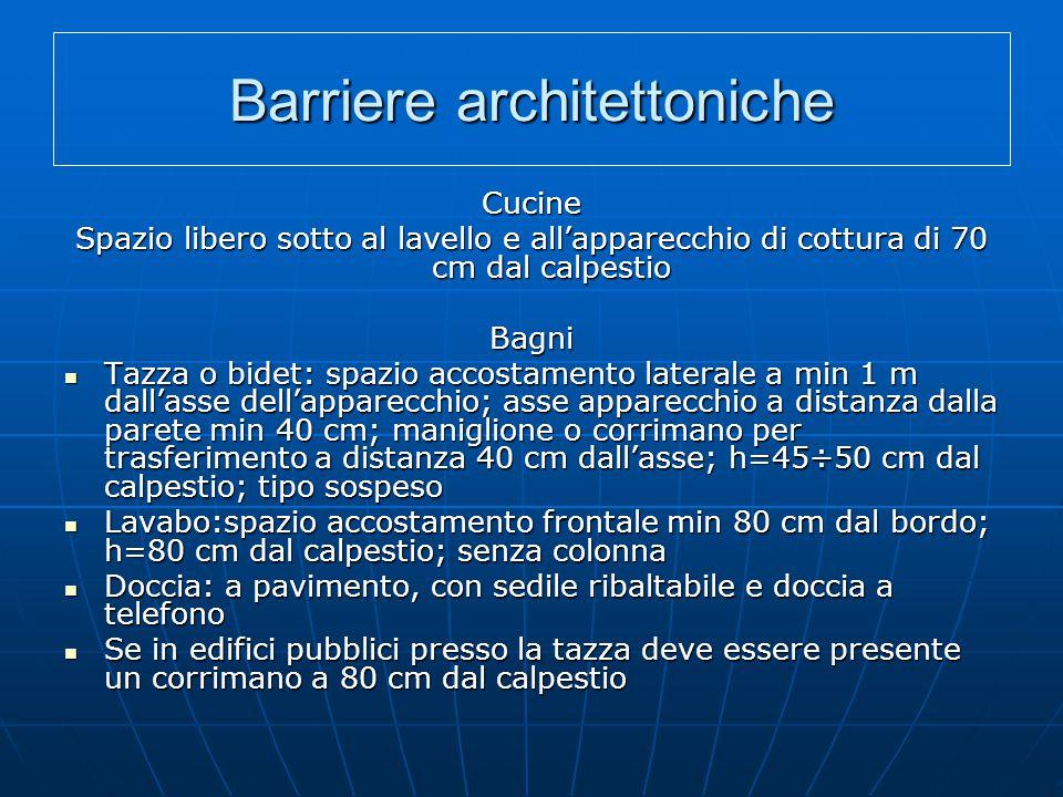 Barriere architettoniche Cucine Spazio libero sotto al lavello e all'apparecchio di cottura di 70 cm dal calpestio Bagni Tazza o bidet: spazio accosta