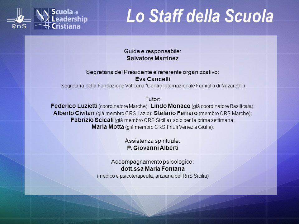 Lo Staff della Scuola Guida e responsabile: Salvatore Martinez Segretaria del Presidente e referente organizzativo: Eva Cancelli (segretaria della Fon