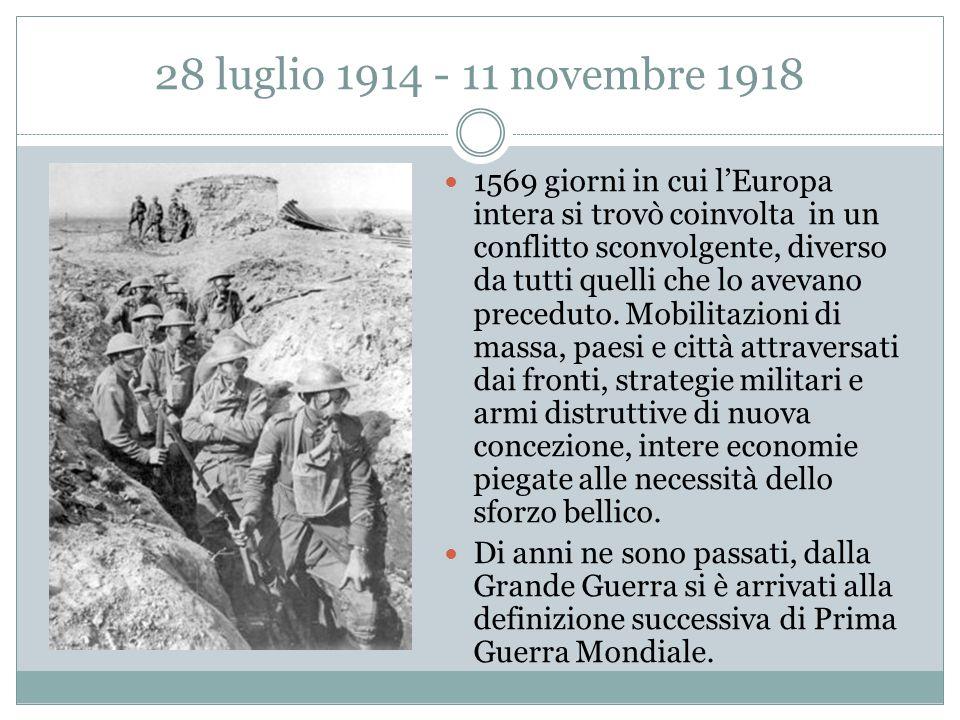 28 luglio 1914 - 11 novembre 1918 1569 giorni in cui l'Europa intera si trovò coinvolta in un conflitto sconvolgente, diverso da tutti quelli che lo avevano preceduto.