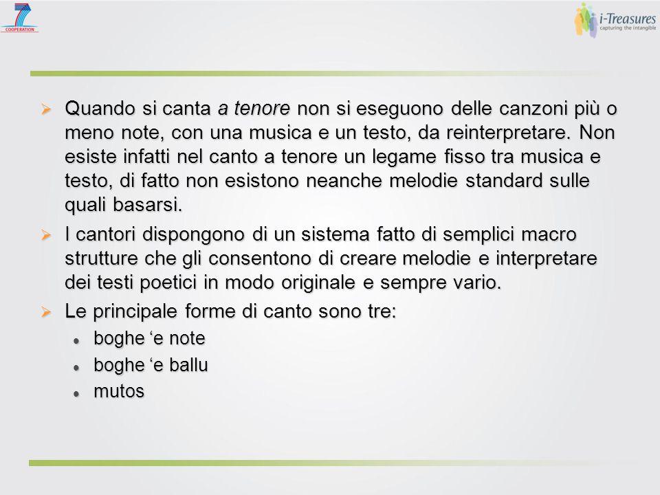 Quando si canta a tenore non si eseguono delle canzoni più o meno note, con una musica e un testo, da reinterpretare. Non esiste infatti nel canto a