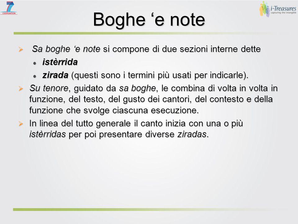 Boghe 'e note  Sa boghe 'e note si compone di due sezioni interne dette istèrrida istèrrida zirada (questi sono i termini più usati per indicarle). z