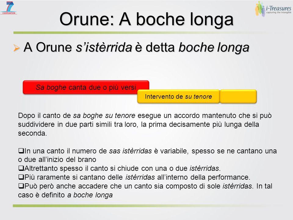 Orune: A boche longa  A Orune s'istèrrida è detta boche longa Sa boghe canta due o più versi Intervento de su tenore Dopo il canto de sa boghe su ten