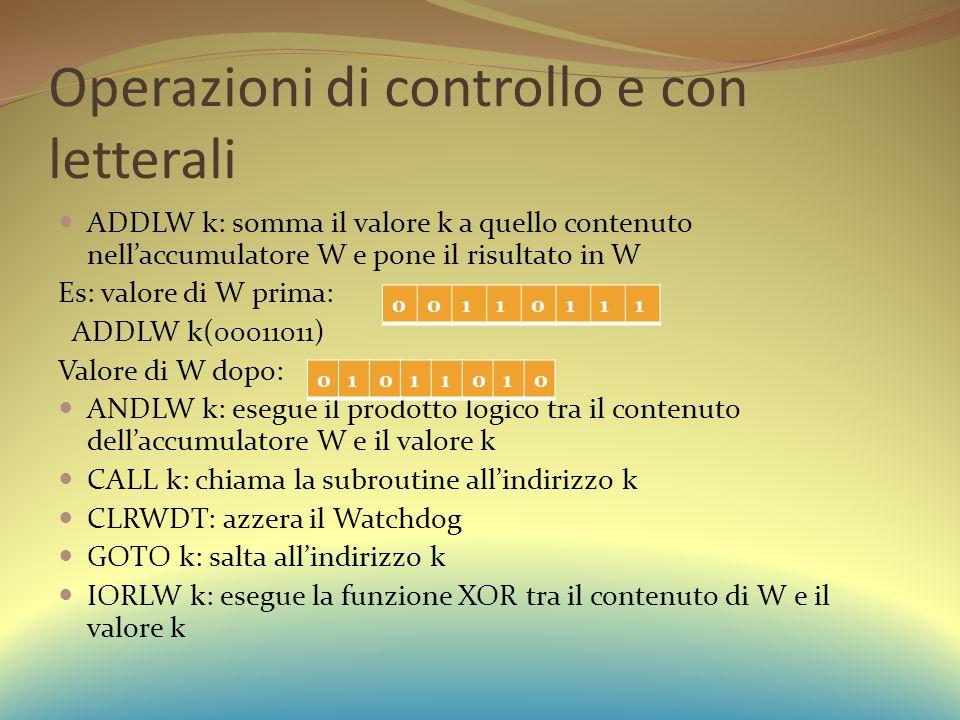 Operazioni di controllo e con letterali ADDLW k: somma il valore k a quello contenuto nell'accumulatore W e pone il risultato in W Es: valore di W prima: ADDLW k(00011011) Valore di W dopo: ANDLW k: esegue il prodotto logico tra il contenuto dell'accumulatore W e il valore k CALL k: chiama la subroutine all'indirizzo k CLRWDT: azzera il Watchdog GOTO k: salta all'indirizzo k IORLW k: esegue la funzione XOR tra il contenuto di W e il valore k 00110111 01011010