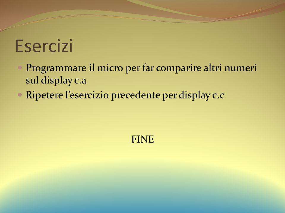 Esercizi Programmare il micro per far comparire altri numeri sul display c.a Ripetere l'esercizio precedente per display c.c FINE