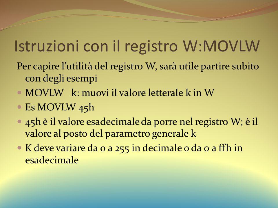 Istruzioni con il registro W:MOVLW Per capire l'utilità del registro W, sarà utile partire subito con degli esempi MOVLW k: muovi il valore letterale k in W Es MOVLW 45h 45h è il valore esadecimale da porre nel registro W; è il valore al posto del parametro generale k K deve variare da 0 a 255 in decimale o da 0 a ffh in esadecimale