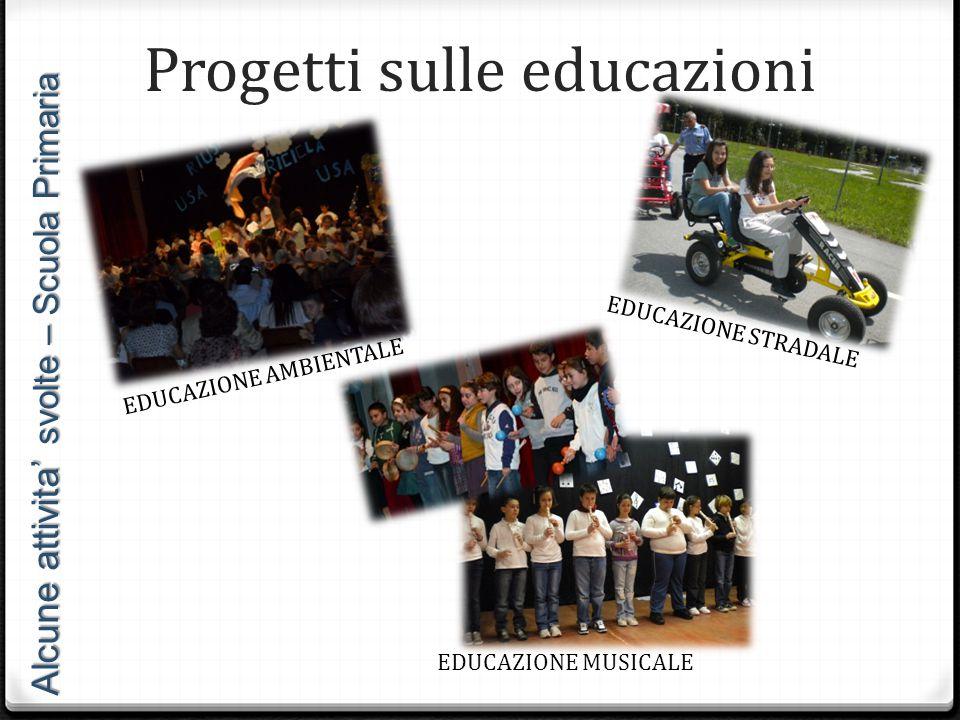 Progetti sulle educazioni EDUCAZIONE AMBIENTALE EDUCAZIONE STRADALE Alcune attivita' svolte – Scuola Primaria EDUCAZIONE MUSICALE