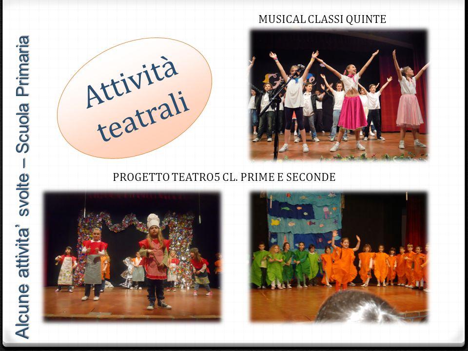Attività teatrali MUSICAL CLASSI QUINTE PROGETTO TEATRO5 CL. PRIME E SECONDE Alcune attivita' svolte – Scuola Primaria