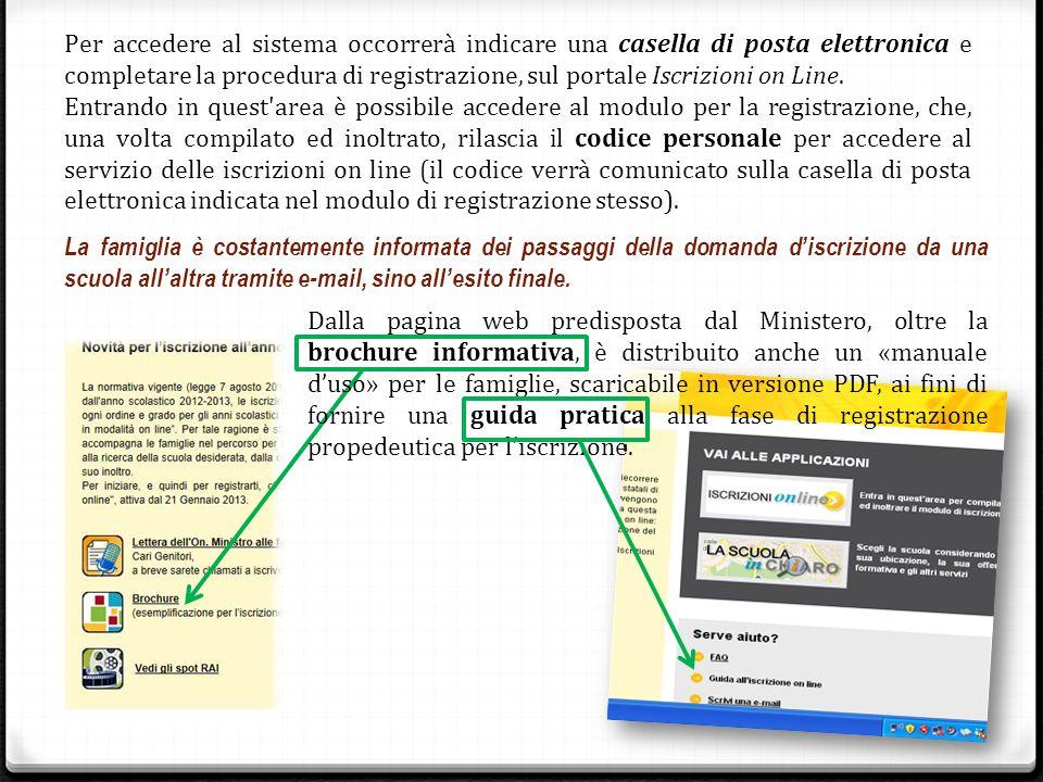 Per accedere al sistema occorrerà indicare una casella di posta elettronica e completare la procedura di registrazione, sul portale Iscrizioni on Line