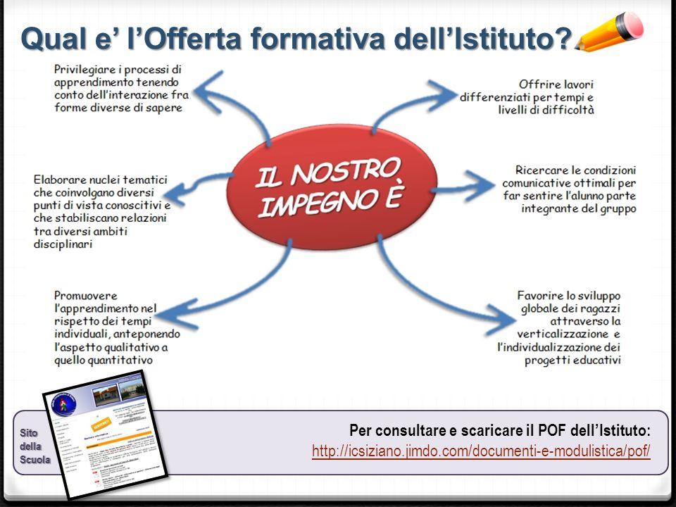 Qual e' l'Offerta formativa dell'Istituto? SitodellaScuola Per consultare e scaricare il POF dell'Istituto: http://icsiziano.jimdo.com/documenti-e-mod