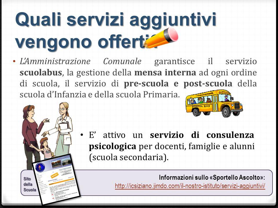 Quali servizi aggiuntivi vengono offerti? L'Amministrazione Comunale garantisce il servizio scuolabus, la gestione della mensa interna ad ogni ordine