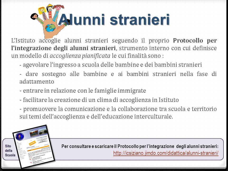 Alunni stranieri L'Istituto accoglie alunni stranieri seguendo il proprio Protocollo per l'integrazione degli alunni stranieri, strumento interno con