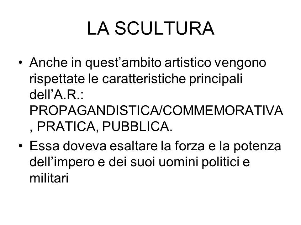 LA SCULTURA Anche in quest'ambito artistico vengono rispettate le caratteristiche principali dell'A.R.: PROPAGANDISTICA/COMMEMORATIVA, PRATICA, PUBBLICA.