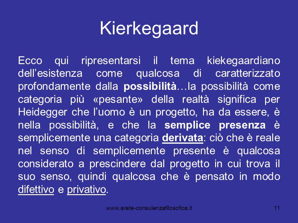 Kierkegaard Ecco qui ripresentarsi il tema kiekegaardiano dell'esistenza come qualcosa di caratterizzato profondamente dalla possibilità…la possibilit