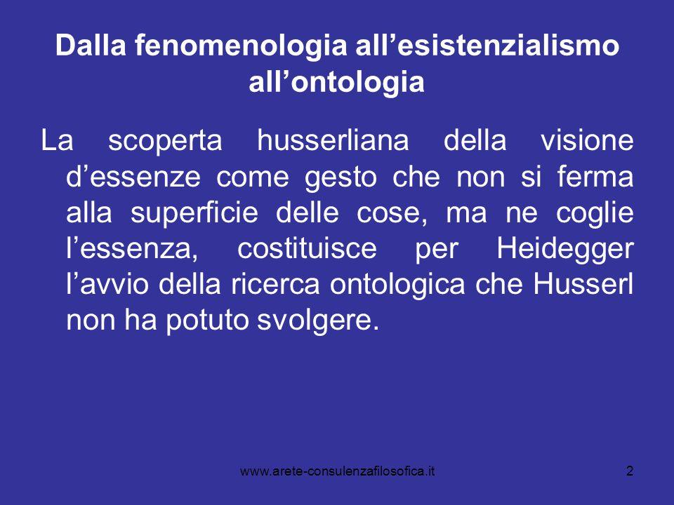 2 Dalla fenomenologia all'esistenzialismo all'ontologia La scoperta husserliana della visione d'essenze come gesto che non si ferma alla superficie de