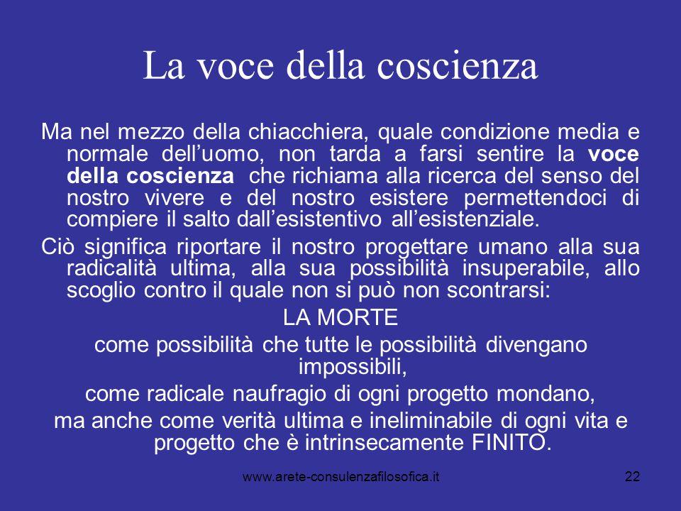22 La voce della coscienza Ma nel mezzo della chiacchiera, quale condizione media e normale dell'uomo, non tarda a farsi sentire la voce della coscien