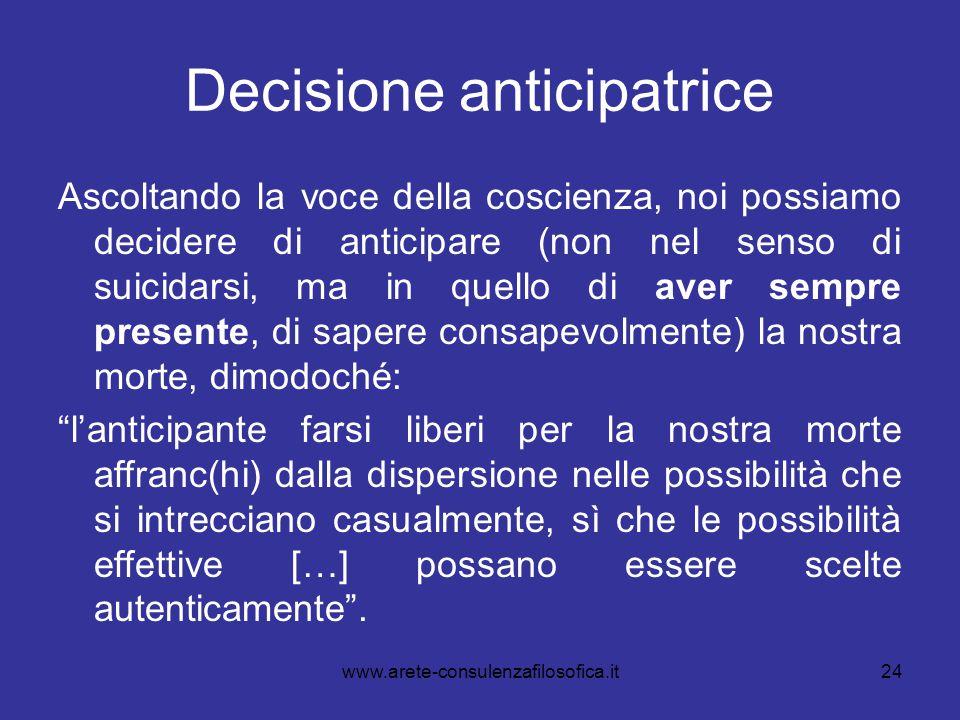 24 Decisione anticipatrice Ascoltando la voce della coscienza, noi possiamo decidere di anticipare (non nel senso di suicidarsi, ma in quello di aver