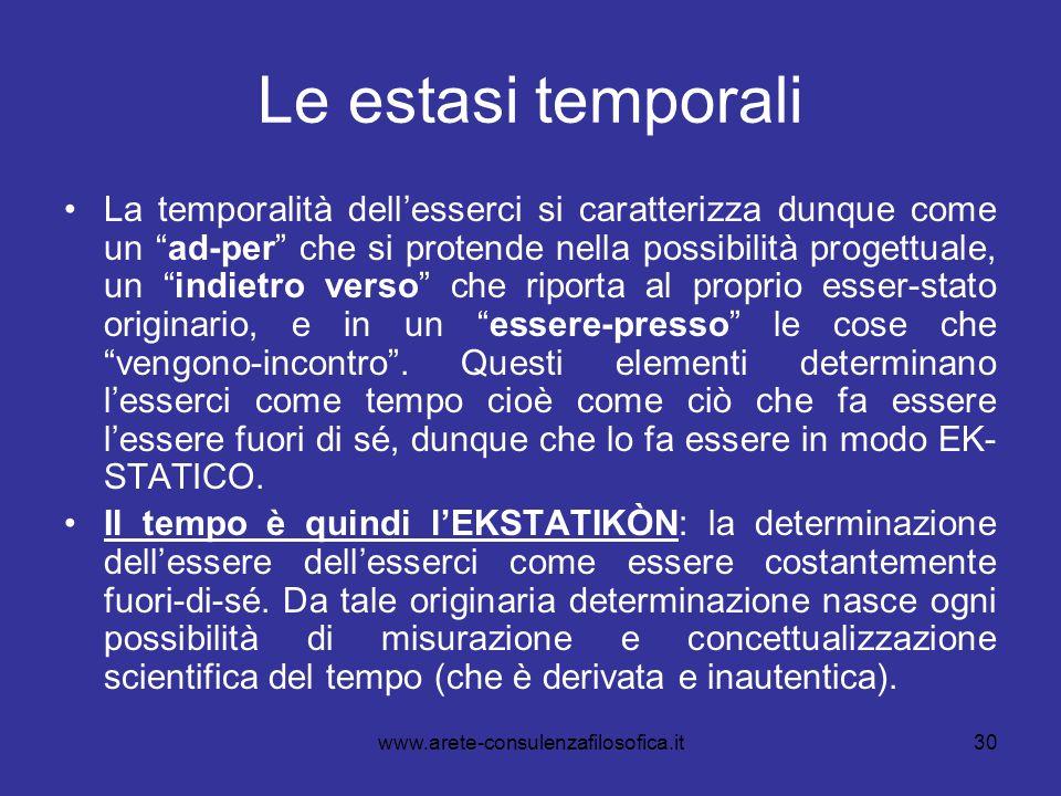 """30 Le estasi temporali La temporalità dell'esserci si caratterizza dunque come un """"ad-per"""" che si protende nella possibilità progettuale, un """"indietro"""