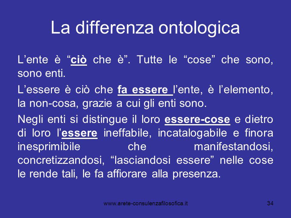 """34 La differenza ontologica L'ente è """"ciò che è"""". Tutte le """"cose"""" che sono, sono enti. L'essere è ciò che fa essere l'ente, è l'elemento, la non-cosa,"""