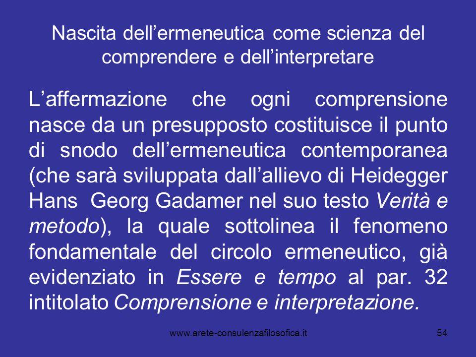 Nascita dell'ermeneutica come scienza del comprendere e dell'interpretare L'affermazione che ogni comprensione nasce da un presupposto costituisce il