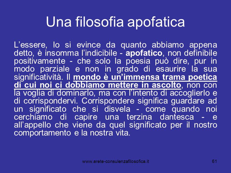 61 Una filosofia apofatica L'essere, lo si evince da quanto abbiamo appena detto, è insomma l'indicibile - apofatico, non definibile positivamente - c