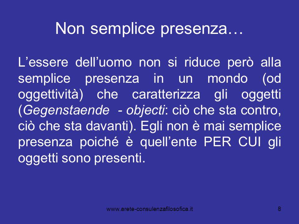 8 Non semplice presenza… L'essere dell'uomo non si riduce però alla semplice presenza in un mondo (od oggettività) che caratterizza gli oggetti (Gegen