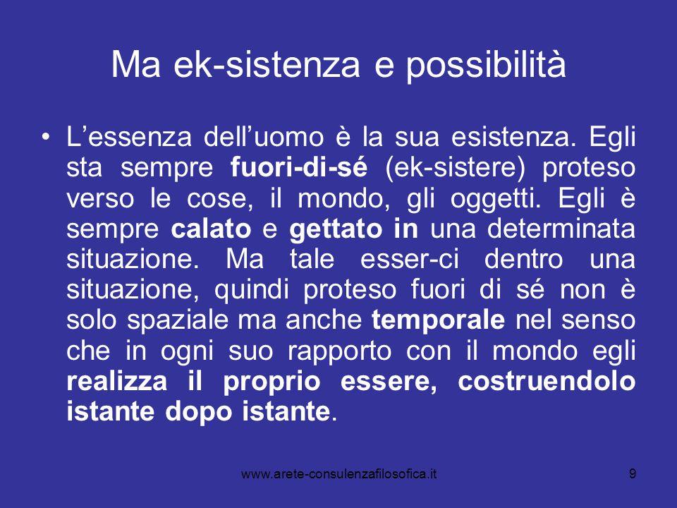 9 Ma ek-sistenza e possibilità L'essenza dell'uomo è la sua esistenza. Egli sta sempre fuori-di-sé (ek-sistere) proteso verso le cose, il mondo, gli o