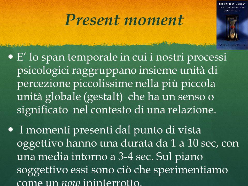 Present moment E' lo span temporale in cui i nostri processi psicologici raggruppano insieme unità di percezione piccolissime nella più piccola unità globale (gestalt) che ha un senso o significato nel contesto di una relazione.
