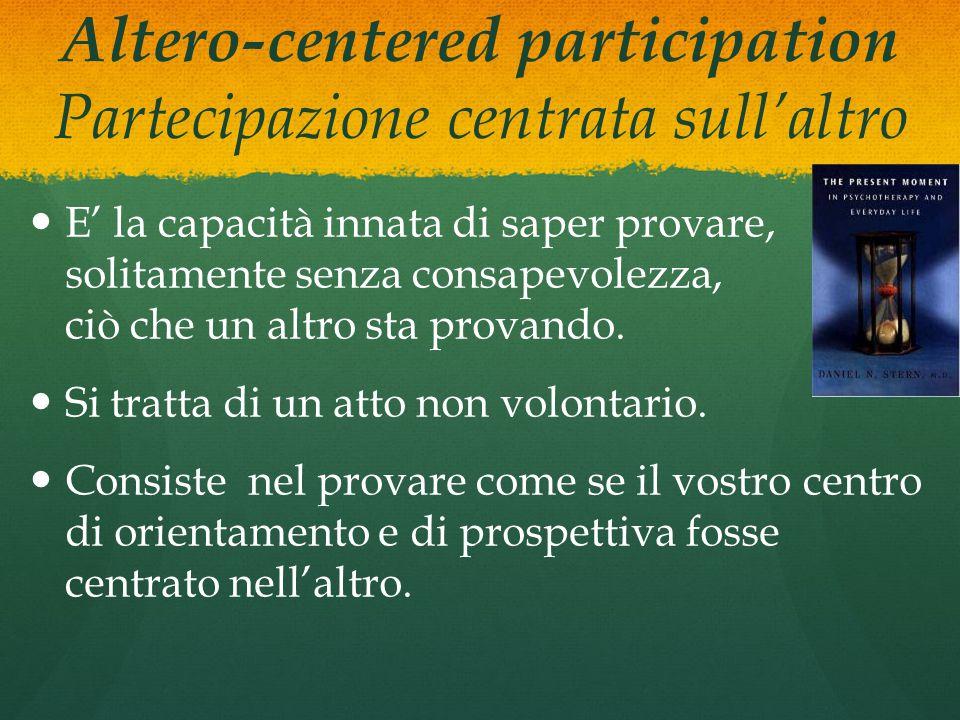 Altero-centered participation Partecipazione centrata sull'altro E' la capacità innata di saper provare, solitamente senza consapevolezza, ciò che un altro sta provando.