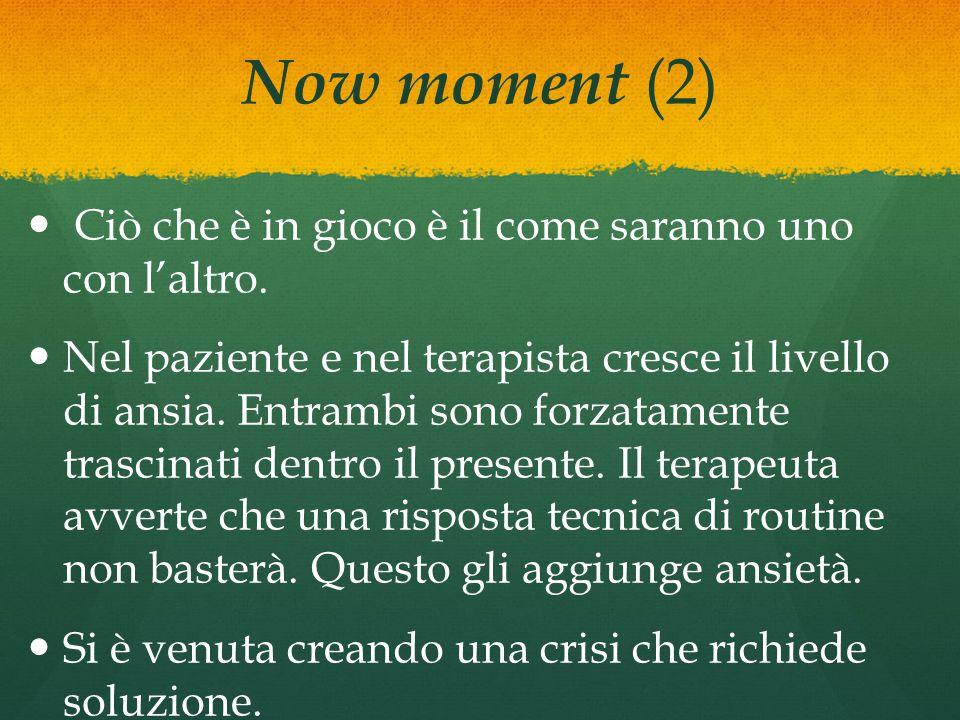 Now moment (2) Ciò che è in gioco è il come saranno uno con l'altro. Nel paziente e nel terapista cresce il livello di ansia. Entrambi sono forzatamen