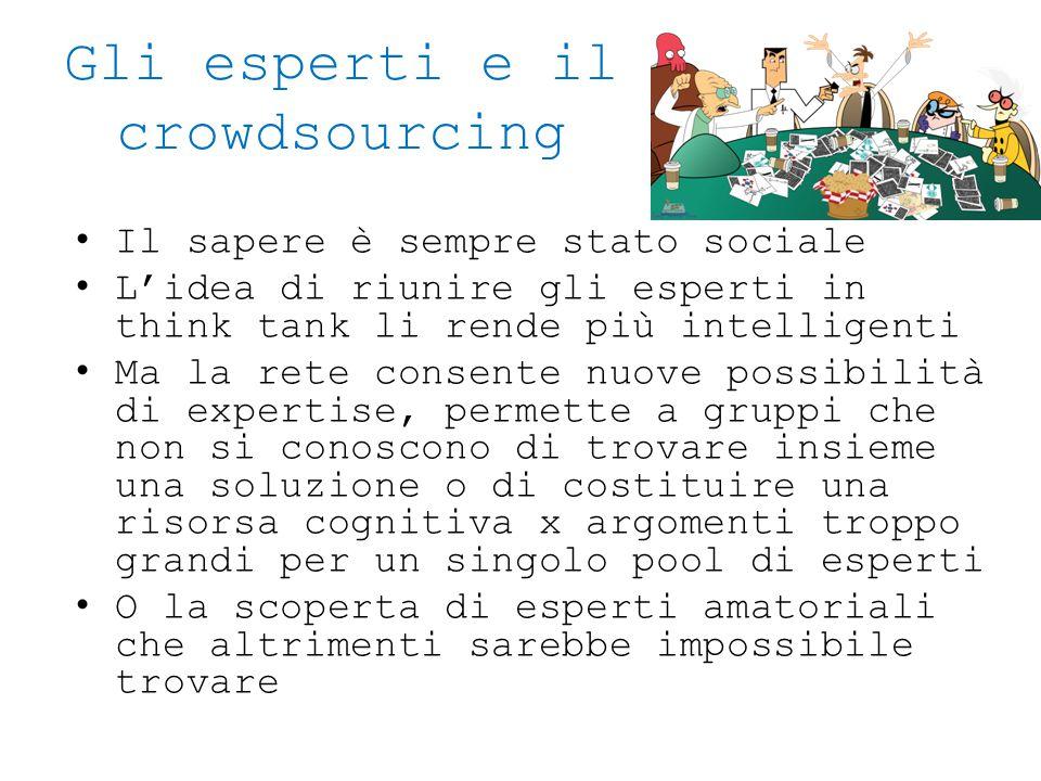 Gli esperti e il crowdsourcing Il sapere è sempre stato sociale L'idea di riunire gli esperti in think tank li rende più intelligenti Ma la rete conse