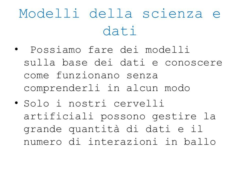Modelli della scienza e dati Possiamo fare dei modelli sulla base dei dati e conoscere come funzionano senza comprenderli in alcun modo Solo i nostri