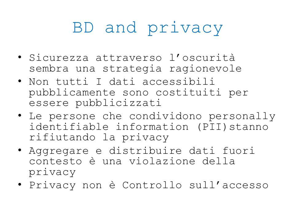 BD and privacy Sicurezza attraverso l'oscurità sembra una strategia ragionevole Non tutti I dati accessibili pubblicamente sono costituiti per essere