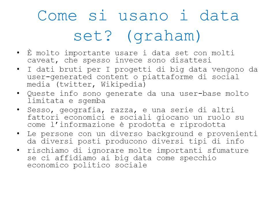 Come si usano i data set? (graham) È molto importante usare i data set con molti caveat, che spesso invece sono disattesi I dati bruti per I progetti