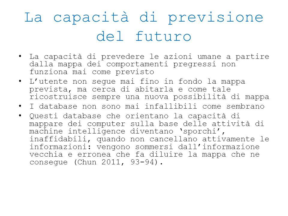 La capacità di previsione del futuro La capacità di prevedere le azioni umane a partire dalla mappa dei comportamenti pregressi non funziona mai come
