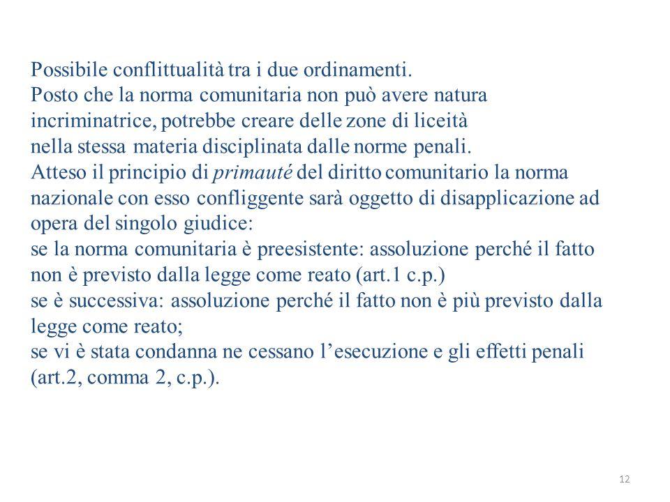 12 Possibile conflittualità tra i due ordinamenti.