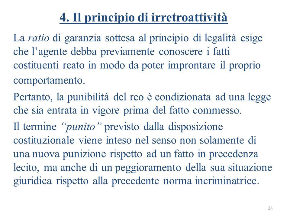 4. Il principio di irretroattività La ratio di garanzia sottesa al principio di legalità esige che l'agente debba previamente conoscere i fatti costit