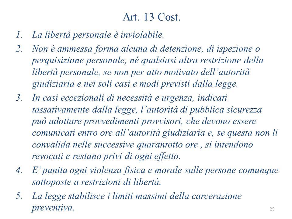 Art.13 Cost. 1.La libertà personale è inviolabile.