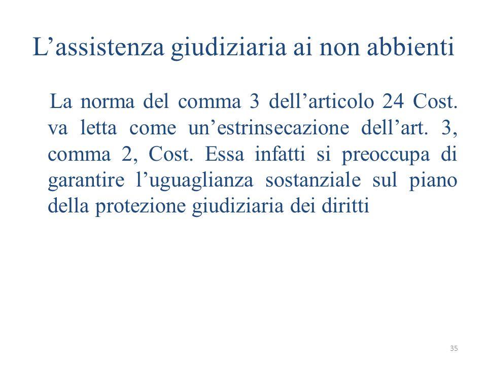 35 L'assistenza giudiziaria ai non abbienti La norma del comma 3 dell'articolo 24 Cost.