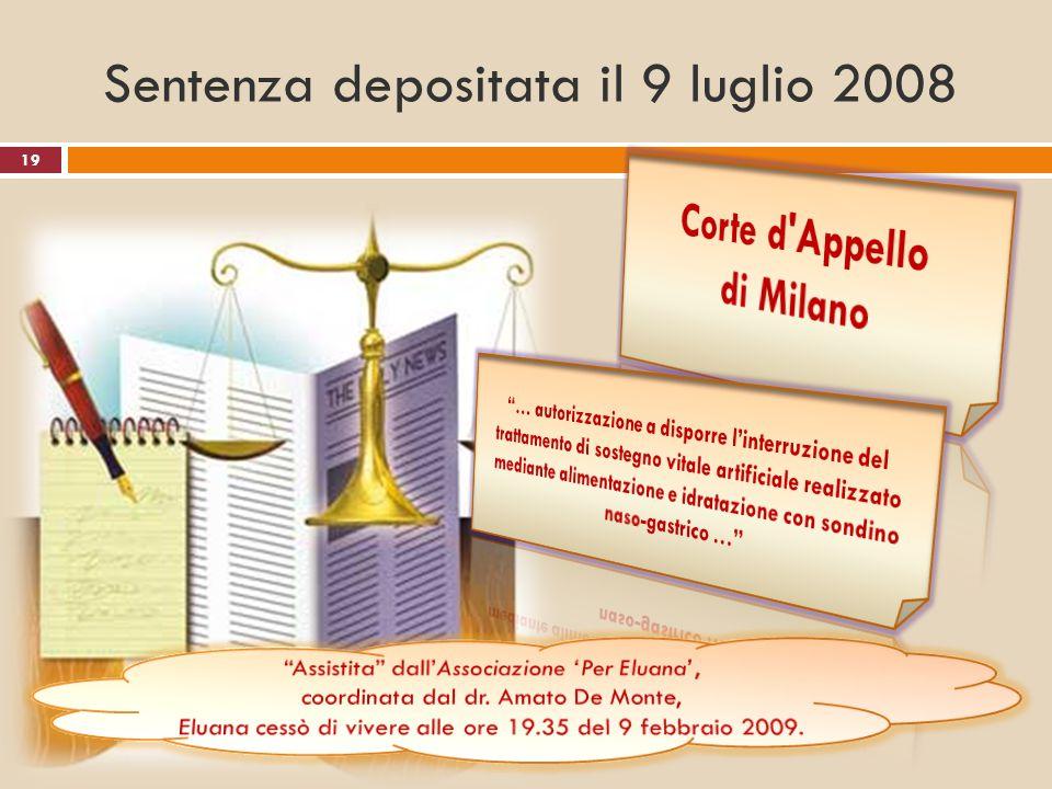 Sentenza depositata il 9 luglio 2008 19