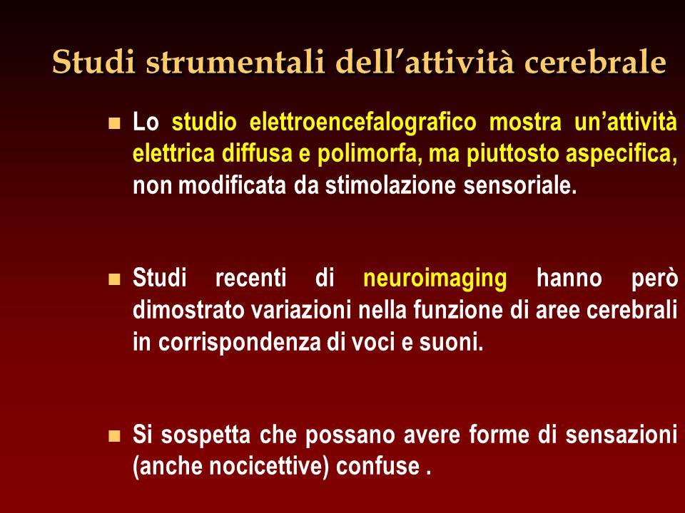 Studi strumentali dell'attività cerebrale n n Lo studio elettroencefalografico mostra un'attività elettrica diffusa e polimorfa, ma piuttosto aspecifi
