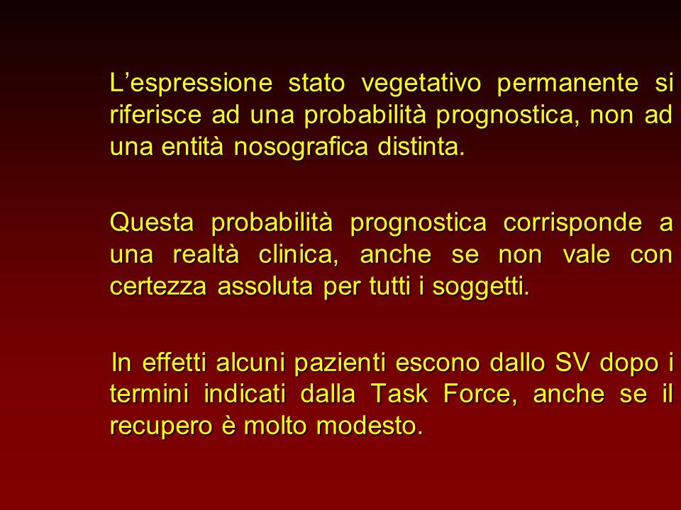 L'espressione stato vegetativo permanente si riferisce ad una probabilità prognostica, non ad una entità nosografica distinta. Questa probabilità prog