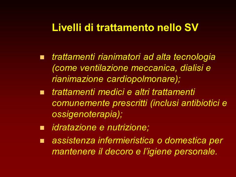 Livelli di trattamento nello SV n n trattamenti rianimatori ad alta tecnologia (come ventilazione meccanica, dialisi e rianimazione cardiopolmonare);