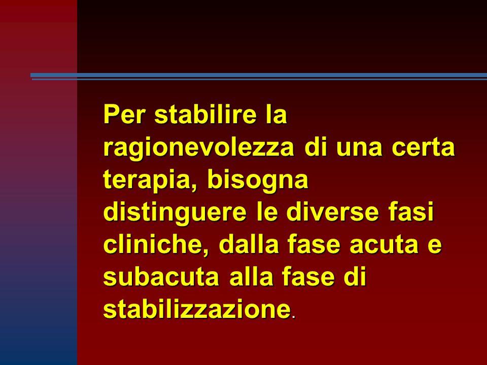 Per stabilire la ragionevolezza di una certa terapia, bisogna distinguere le diverse fasi cliniche, dalla fase acuta e subacuta alla fase di stabilizz