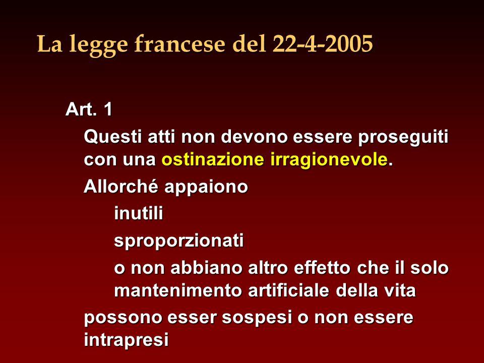 La legge francese del 22-4-2005 Art. 1 Questi atti non devono essere proseguiti con una ostinazione irragionevole. Allorché appaiono inutilisproporzio