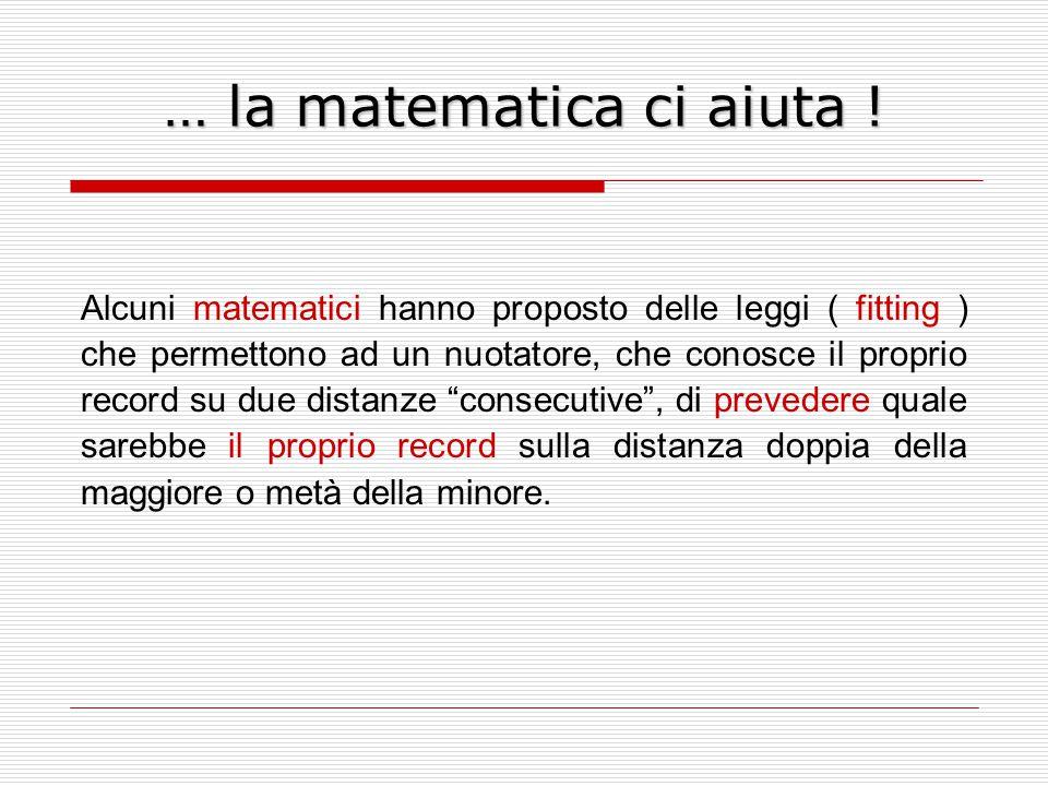 … la matematica ci aiuta ! Alcuni matematici hanno proposto delle leggi ( fitting ) che permettono ad un nuotatore, che conosce il proprio record su d