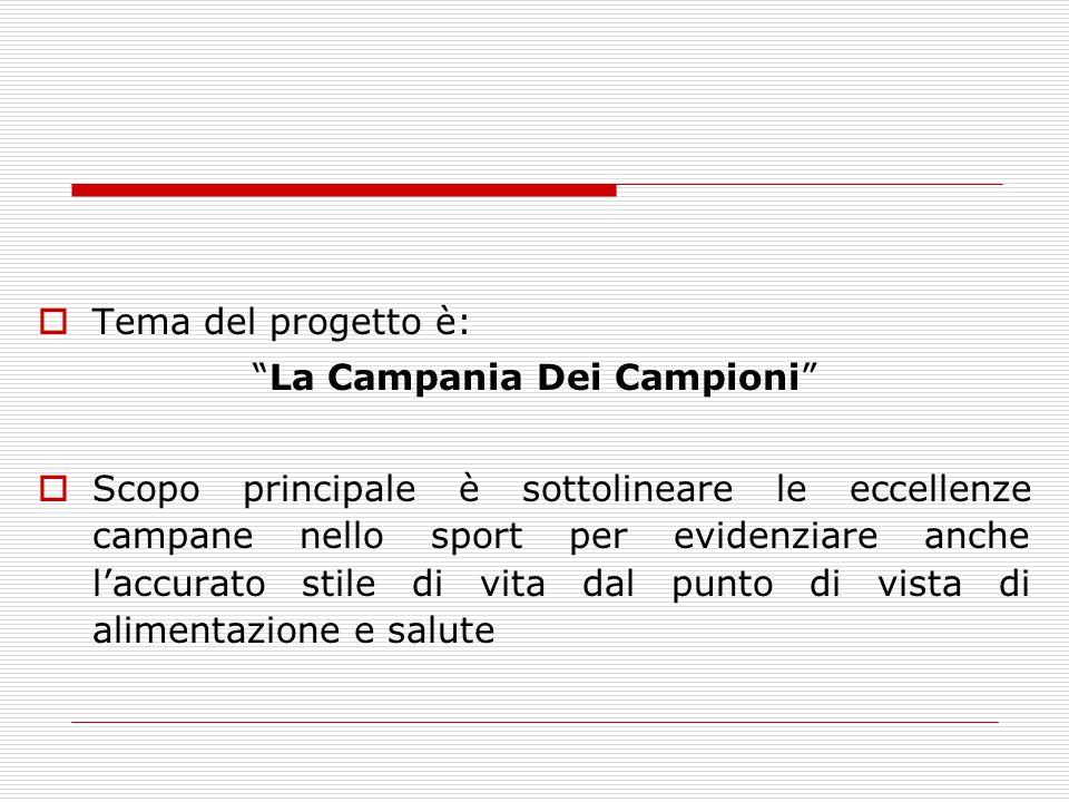 """ Tema del progetto è: """"La Campania Dei Campioni""""  Scopo principale è sottolineare le eccellenze campane nello sport per evidenziare anche l'accurato"""